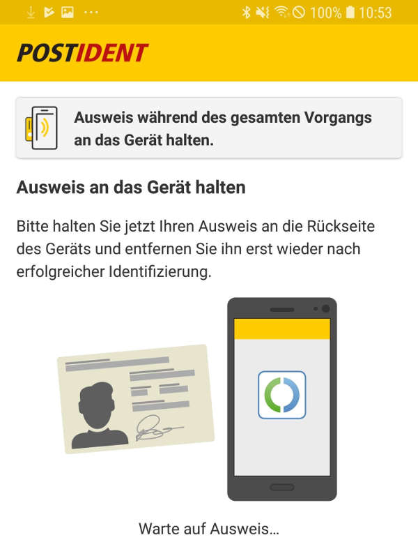 Screenshot Postident (Ausschnitt, Quelle: Deutsche Post DHL Group)