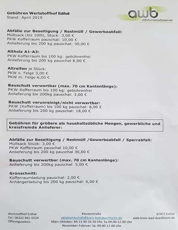 Informationsblatt des awb für den Wertstoffhof Esthal