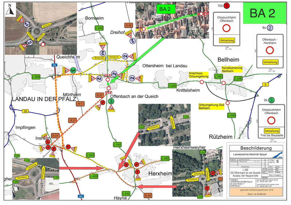 Der Verkehr von Landau kommend wird über die Umgehungstrasse Offenbach (L 509 neu) und die K 40 in Richtung Ottersheim umgeleitet und umgekehrt (Quelle: LBM Speyer)