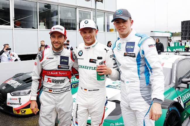 Sieger Marco Wittmann und die Zweit- und Drittplatzierten Mike Rockenfeller und Robin Frijns (Foto: DTM)