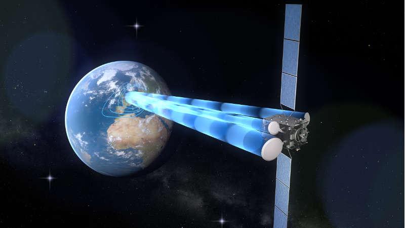 """Ab dem Jahr 2021 soll """"Heinrich Hertz"""" die Erde auf einer geostationären Umlaufbahn in einer Höhe von rund 36.000 Kilometern umkreisen. An Bord befinden sich neben neuen Technologien, die unter Weltraumbedingungen getestet werden sollen, rund 20 Experimente zur Kommunikations-, Antennen- und Satellitentechnik. (Foto: OHB System AG)"""