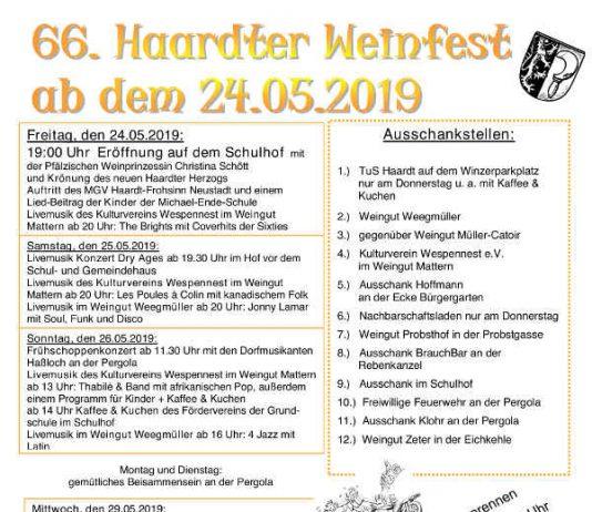 Haardter Weinfest Programm 2019