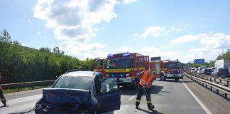 Verkehrsunfall auf der A60 (Foto: BF Mainz)