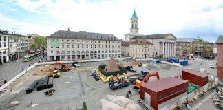 Marktplatz-Baustelle von oben am 3. Mai 2019 (Foto: Roland Fränkle - Presseamt Stadt Karlsruhe)