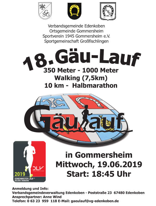 Titelbild (Flyer) 18. Gäulauf (Quelle: VG Edenkoben)