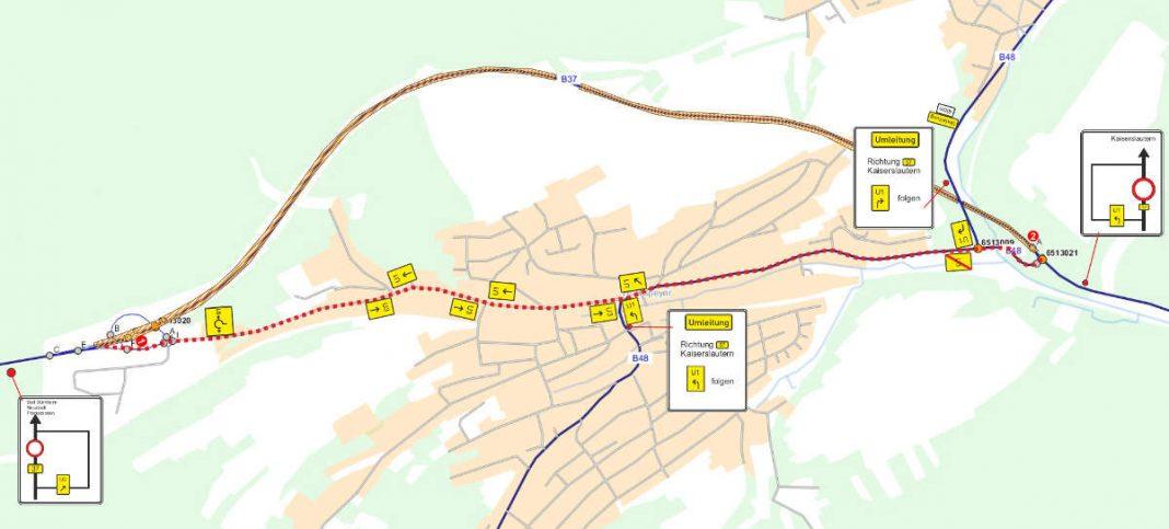 Verkehrskonzept - Lageplan (Quelle: LBM Kaiserslautern)