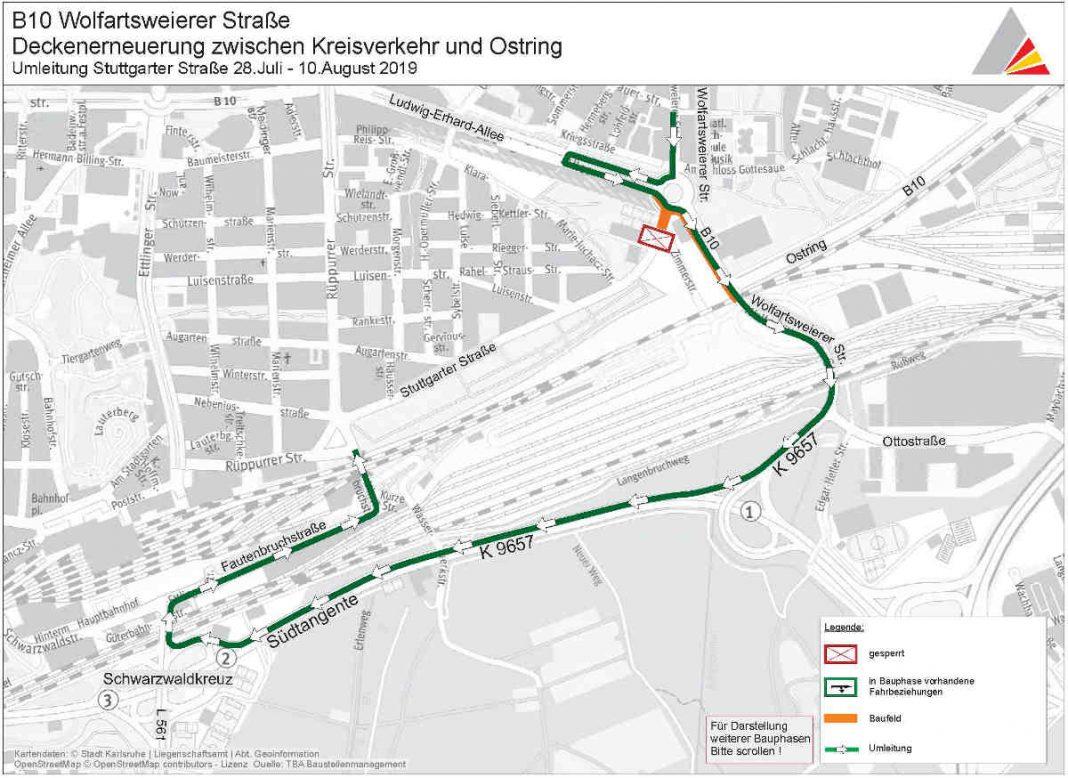 Wolfartsweierer Straße: Umleitung 28. Juli bis 10. August 2019 (Foto: Tiefbauamt Karlsruhe)