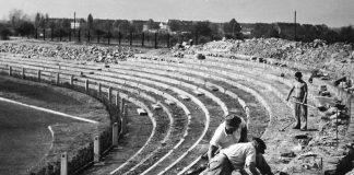 Wiederaufbau des Ludwigshafener Südweststadions 1949. (Foto: Stadtarchiv Ludwigshafen)