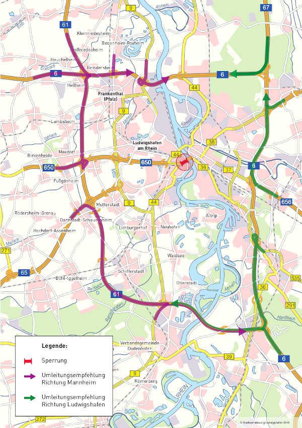 Umleitungsempfehlung Großraum (Quelle: Stadt Ludwigshafen)