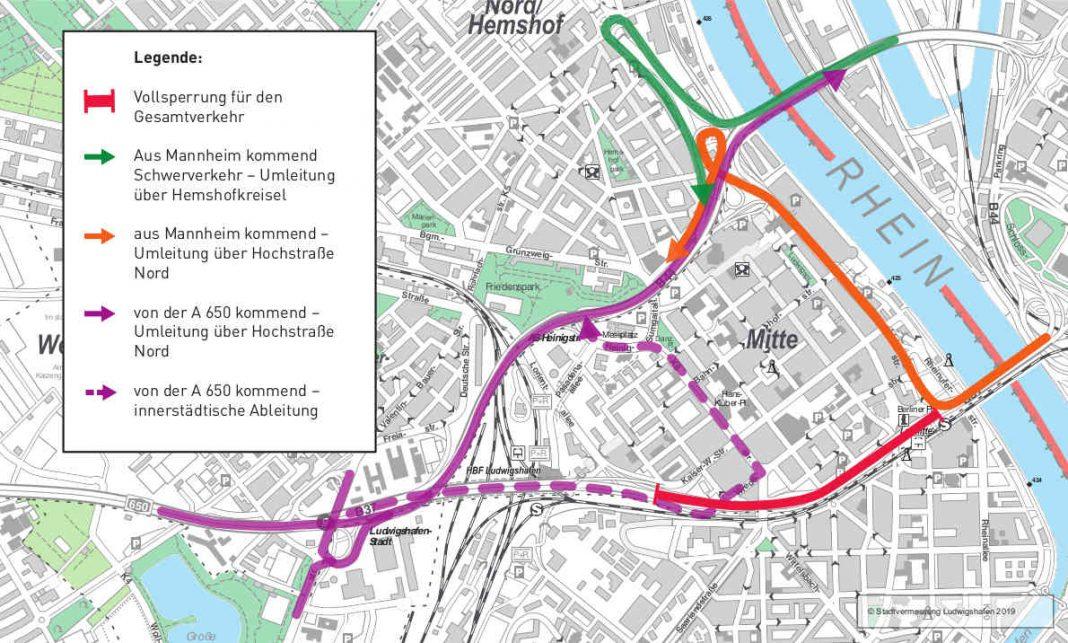 Umleitungsempfehlung Innenstadt (Quelle: Stadt Ludwigshafen)