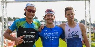 v.l. Julian Erhardt, Frederic Funk und Nicolas Mann beim V-Card Triathlon Viernheim, BASF Triathlon Cup 2019. (Foto: PIX-Sportfotos)
