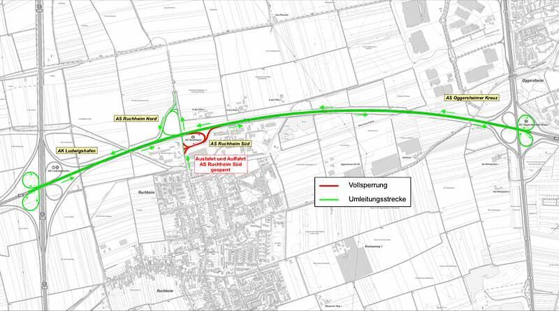 Die Umleitung erfolgt über die A 650 zwischen dem Autobahnkreuz Ludwigshafen (A650 /A61) und dem Oggersheimer Kreuz (A650 / B9)