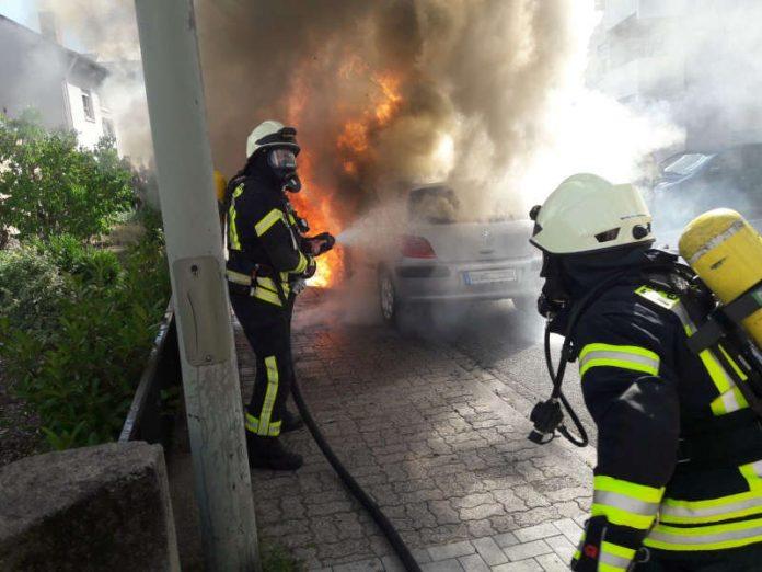 Brennender PKW (Foto: Feuerwehr Neustadt)