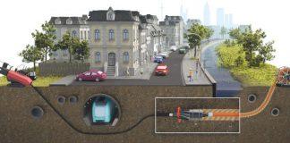 Schematische Darstellung des Spülbohrverfahrens zur Verlegung der Fernwärmeleitung unter der Eckenheimer Landstraße (Foto: Mainova AG)