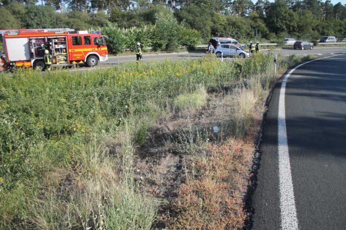 Übersichtsaufnahme der Unfallstelle am AK Speyer (Foto: Polizei RLP)