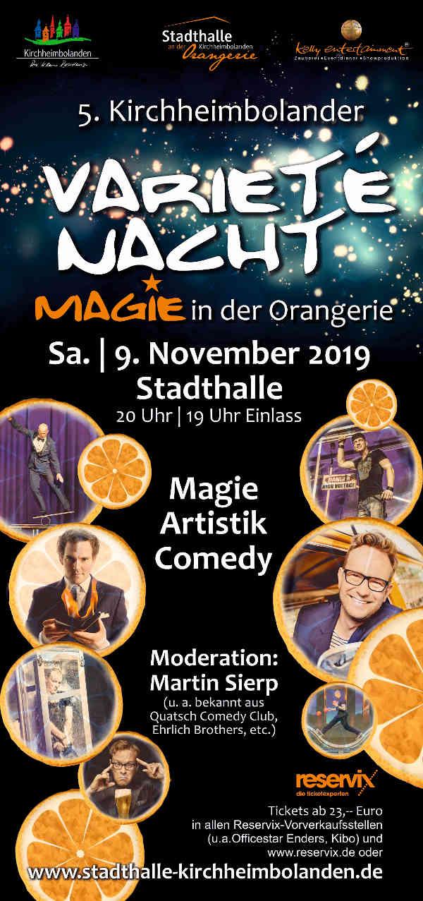 """5. Kirchheimbolander Varieté-Nacht """"Magie in der Orangerie"""""""