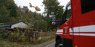 Auch ein Rettungshubschrauber war im Einsatz (Foto: Presseteam der Feuerwehr VG Lambrecht)