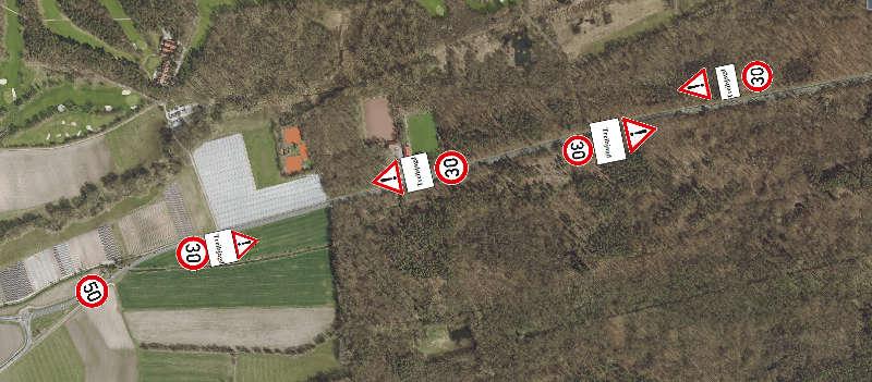 Treibjagd auf der B39 bei Geinsheim (Foto: Stadtverwaltung Neustadt)
