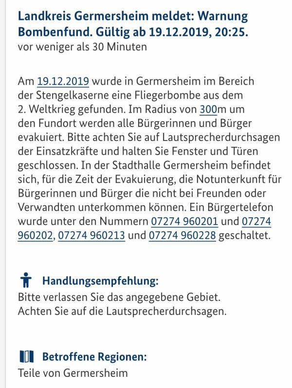 Fliegerbombe Germersheim KATWARN