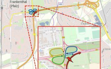 Die Umleitung erfolgt innerhalb der B 9 Anschlussstelle FT-Mitte und ist ausgeschildert (Quelle: LBM Speyer)