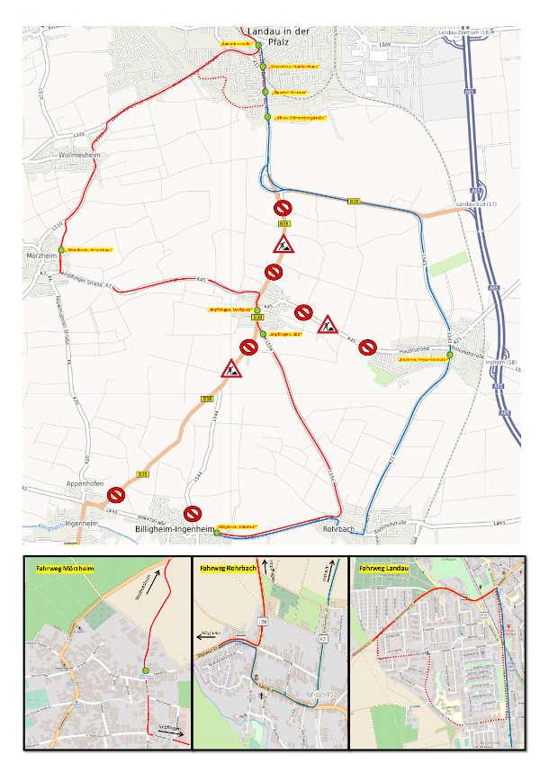 Fahrweg Linie 541 Vollsperrung B38 Impflingen
