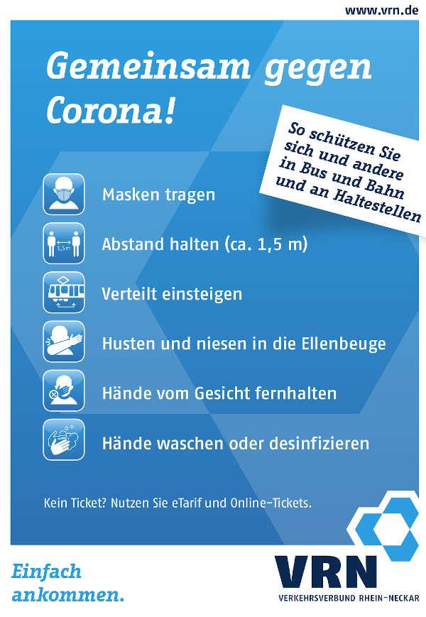 Corona Schutzmaßnahmen im VRN (Grafik: VRN)