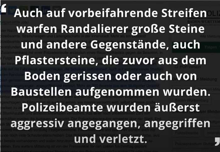 Quelle: Stern.de aus Presseerklärung Polizei Stuttgart