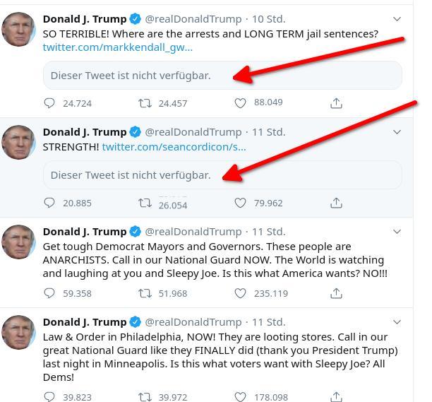 Keine Warnhinweise - Jetzt löscht Twitter Tweets des US-Präsidenten
