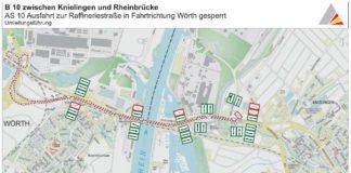 BA 1.1 mit Sperrung der Abfahrt zur Raffineriestraße (Quelle: RP Karlsruhe)