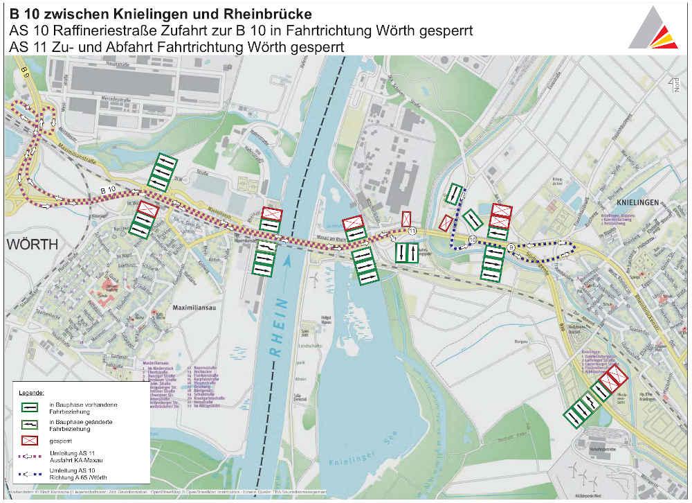 BA 1.2 mit Sperrung der Anschlussstelle 11 Yachthafen (Quelle: RP Karlsruhe)