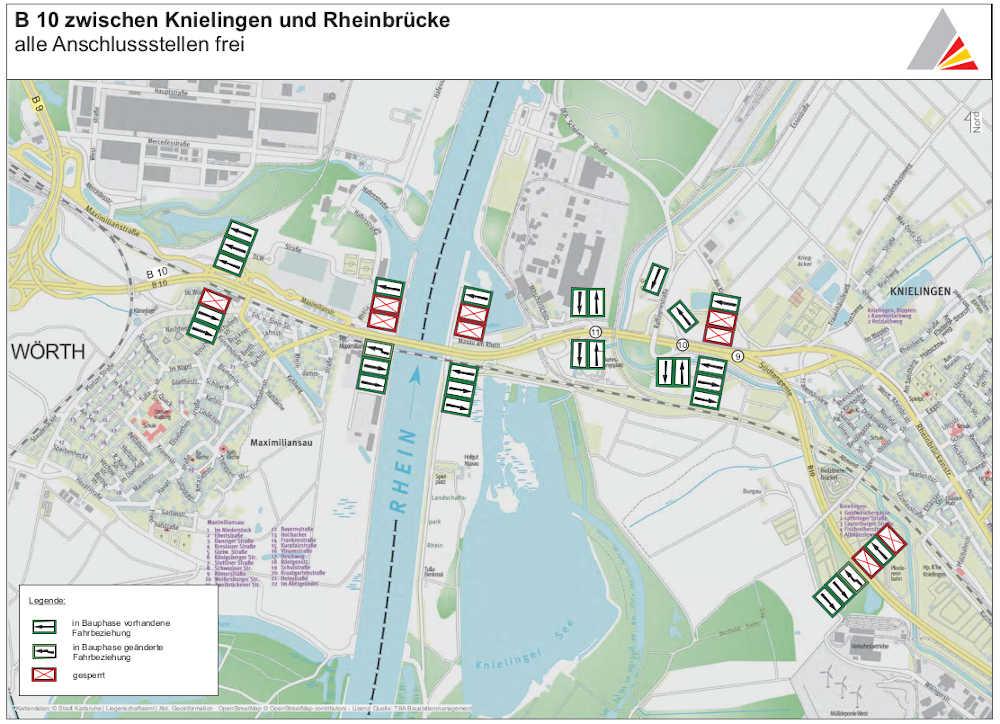 BA 2, Arbeitsstelle auf dem linken Richtungsfahrstreifen ohne Sperrungen von Anschlussstellen (Quelle: RP Karlsruhe)