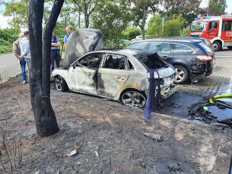 Der ausgebrannte PKW (Foto: Feuerwehr Neustadt)