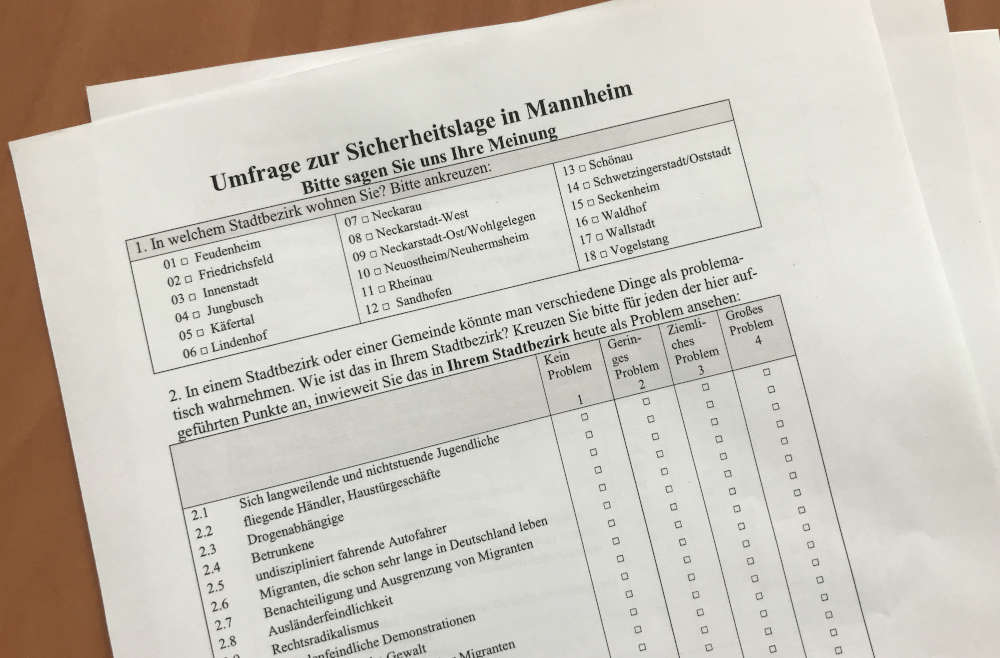 Am 10. Juli startet die inzwischen dritte Sicherheitsbefragung der Stadt Mannheim, die diesmal erstmals auch online erfolgt. (Foto: Stadt Mannheim)