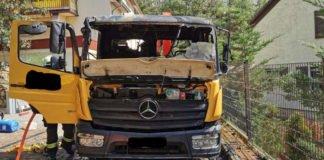 Der durch den Brand beschädigte LKW (Foto: Polizei RLP)