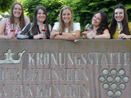 Die Bewerberinnen um die Krone der 82. Pfälzischen Weinkönigin. v.l.: Krebs, Teucke, John, Grauer, Sperl (Foto: Pfalzwein e.V.)