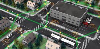 """Mobilfunknetz der Zukunft: Extrem kleine Funkzellen (""""Radio cell"""", orange) sind über drahtlose Terahertz-Verbindungen (""""High-capacity THz link"""", grün) miteinander verknüpft. (Abbildung: IPQ, KIT / Nature Photonics)"""