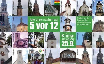"""Uhren stehen auf """"5 vor 12"""" beim Thema Klimagerechtigkeit (Foto: Evangelische Kirche der Pfalz/Bistum Speyer/Florian Grieb)"""