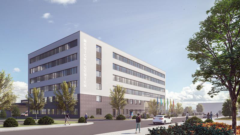 Mit dem Medical Center stärkt BASF den Ausbau des Standorts Ludwigshafen und die Gesundheitsförderung der Mitarbeiter und Nachbarn. (credit: BASF I ash sander hofrichter architekten)