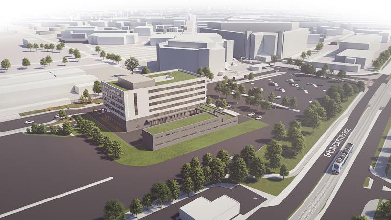 Der Neubau des Medical Centers ist zwischen Tor 5 und Tor 11 geplant, auf dem Gelände außerhalb des Werks. (credit: BASF I ash sander hofrichter architekten)