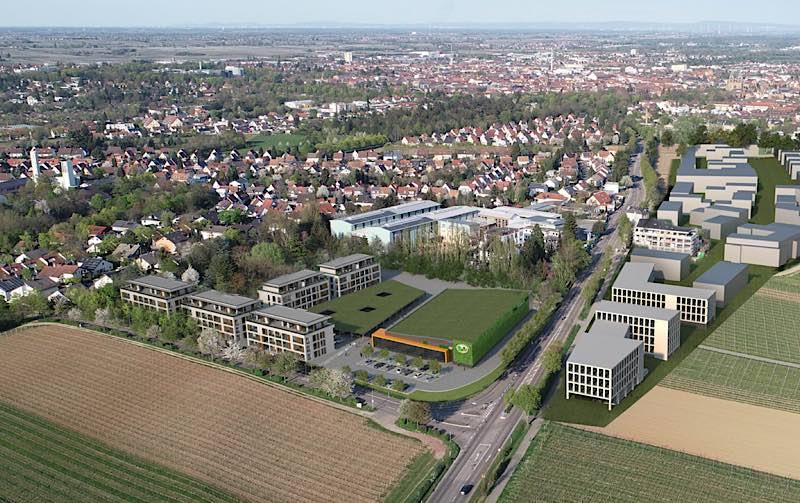Auf dem ehemaligen Hofmeister-Areal auf der Wollmesheimer Höhe sind die Errichtung eines Wasgau-Markts und die Schaffung eines Wohnquartiers mit 64 Wohneinheiten geplant. (Quelle: Kirschthaler/Hornbach)