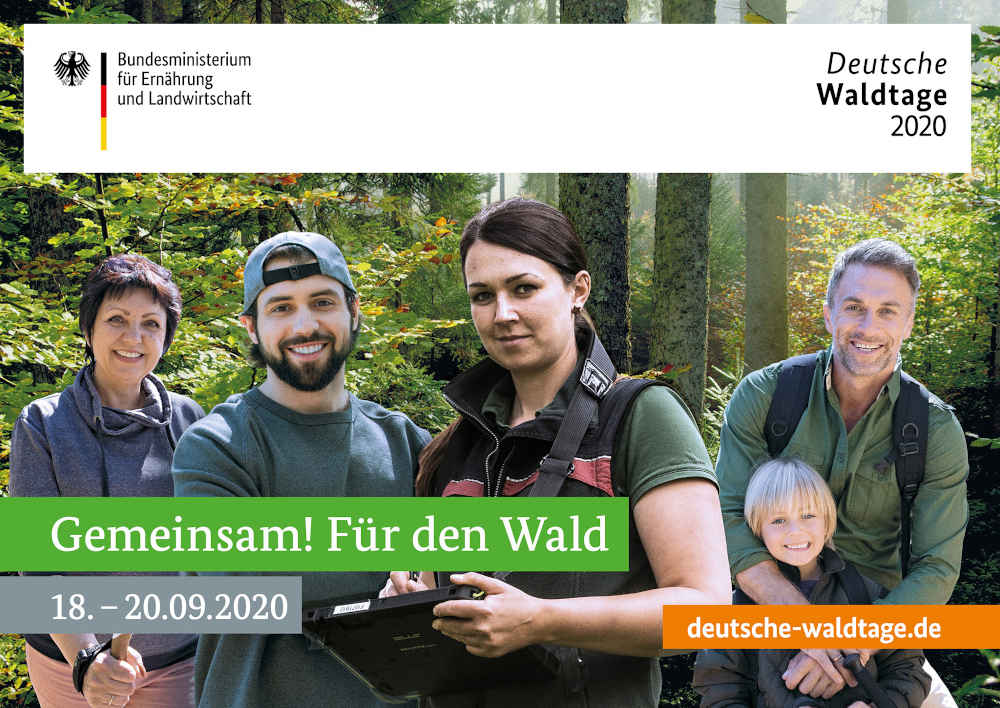 Über 500 Veranstaltungen und Aktionen finden bundesweit zu den Deutschen Waldtagen statt, mehr als 100 davon in Rheinland-Pfalz. Foto: BMEL (Einzelnachweis: Norbert Riehl (Wald); Niedersächsische Landesforsten (Försterin); LightField Studios/Shutterstock.com (Mann mit Basecap); wavebreakmedia/Shutterstock.com (Vater mit Kind); Aleksandra Suzi/Shutterstock.com (Nordic Walkerin))