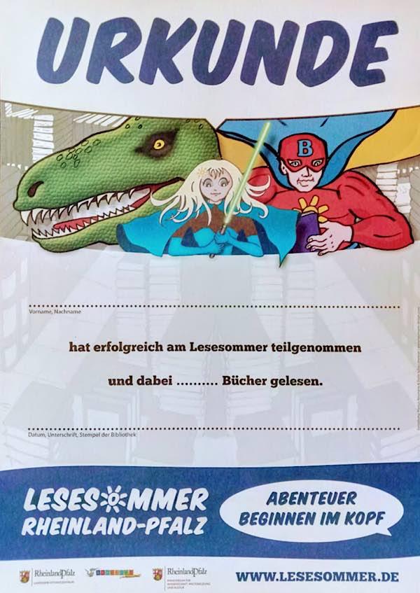 Lesesommer-Urkunde (Foto: Stadtbücherei Lambrecht)