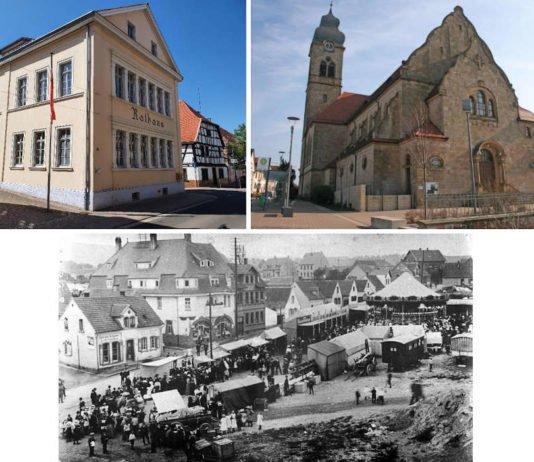 Historisches Rathaus, Katholische Kirche, Alter Marktplatz 1920 (Foto: VGV Eisenberg)