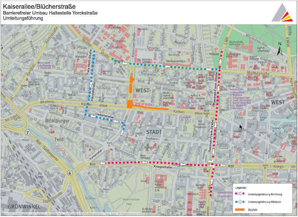 Grafik zur Umleitungsroute für die Verkehrsteilnehmer (Grafik: © OpenStreetMap – Mitwirkende / Stadt Karlsruhe)
