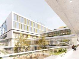 Außenansicht des geplanten KiTZ-Neubaus. (Quelle: Heinle, Wischer und Partner)