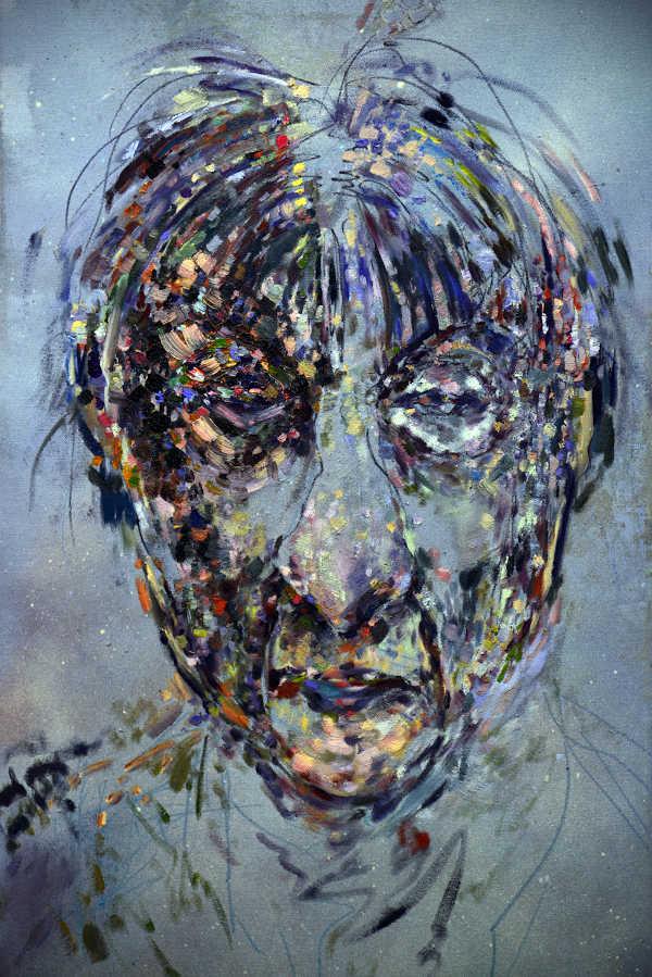 Face, Öl auf Leinwand 2016, 40x80cm (Porträt des Malers Walter Stallwitz) (Foto: Falk Kastell)
