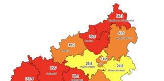 Neuinfektionen pro 100.000 Einwohner in den letzten 7 Tagen, Grafik vom 24.10.2020 (Quelle: MdI)