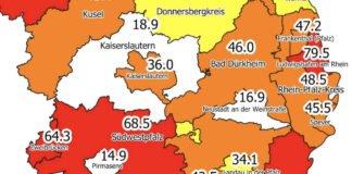 Neuinfektionen pro 100.000 Einwohner in den letzten 7 Tagen, Grafik vom 23.10.2020 (Quelle: MdI)