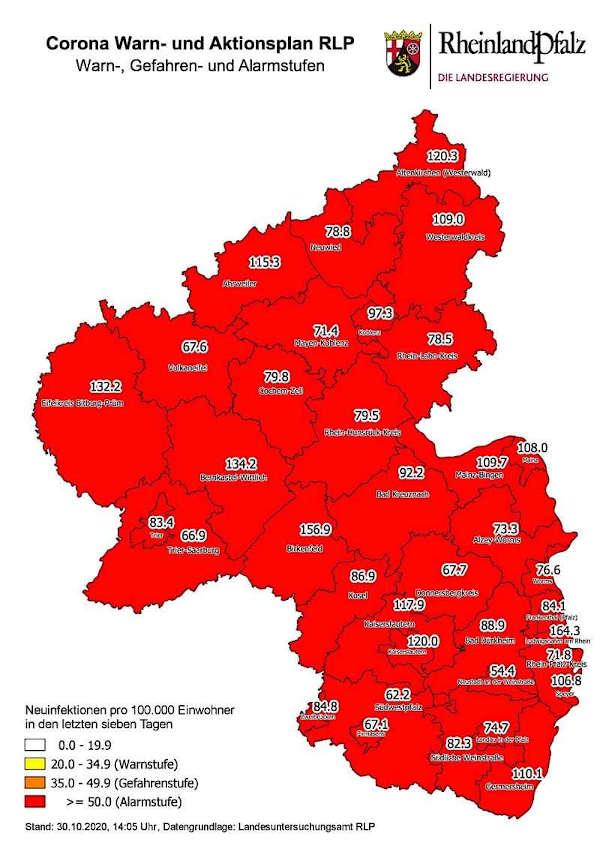 Neuinfektionen pro 100.000 Einwohner in den letzten 7 Tagen, Grafik vom 30.10.2020 (Quelle: MdI)