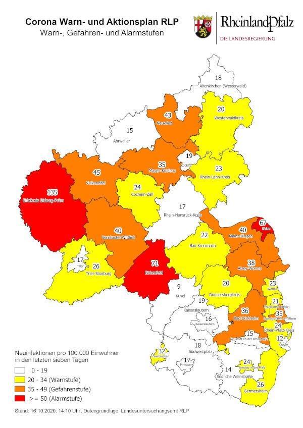 Neuinfektionen pro 100.000 Einwohner in den letzten 7 Tagen, Grafik vom 16.10.2020 (Quelle: MdI)